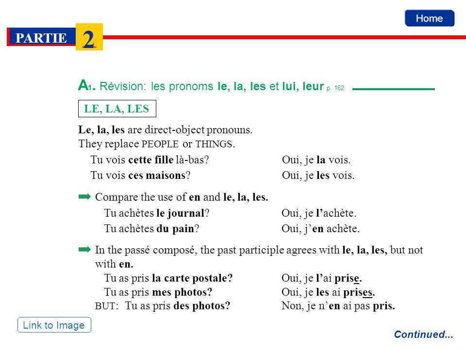 Home PARTIE 2 A 1. Révision: les pronoms le, la, les et lui, leur p. 162 Continued... Link to Image Le, la, les are direct-object pronouns. They repla