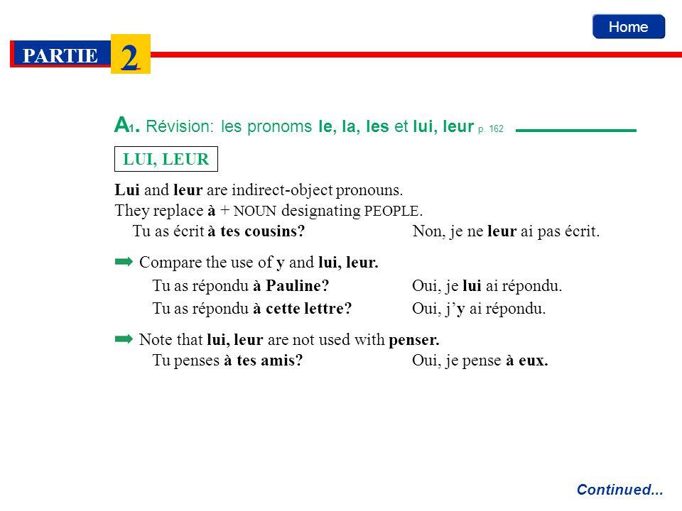 Home PARTIE 2 A 1. Révision: les pronoms le, la, les et lui, leur p. 162 Continued... Lui and leur are indirect-object pronouns. They replace à + NOUN