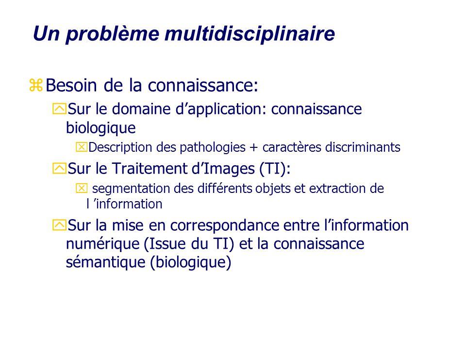 Un problème multidisciplinaire zBesoin de la connaissance: ySur le domaine dapplication: connaissance biologique xDescription des pathologies + caract