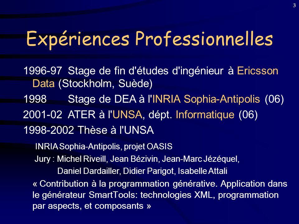 3 Expériences Professionnelles 1996-97Stage de fin d études d ingénieur à Ericsson Data (Stockholm, Suède) 1998Stage de DEA à l INRIA Sophia-Antipolis (06) 2001-02 ATER à l UNSA, dépt.
