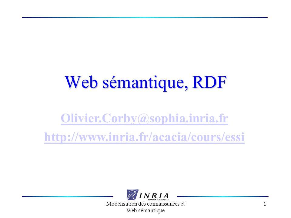 Modélisation des connaissances et Web sémantique 62 Relation n-aire Les propriétés sont des relations binaires Pour décrire une relation n-aire, utiliser une ressource anonyme : <ns:Mobile> <rdf:value>130</rdf:value><ns:unit>km/h</ns:unit></ns:vitesse></ns:Mobile>