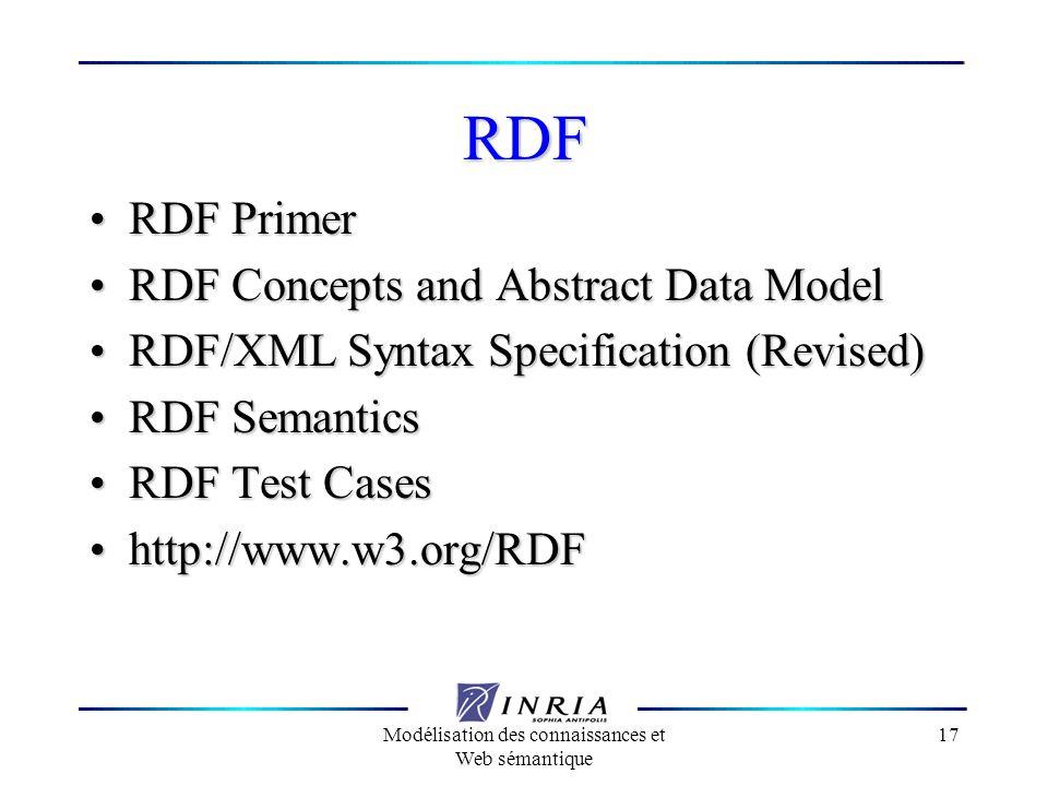 Modélisation des connaissances et Web sémantique 17 RDF RDF Primer RDF Primer RDF Concepts and Abstract Data Model RDF Concepts and Abstract Data Mode