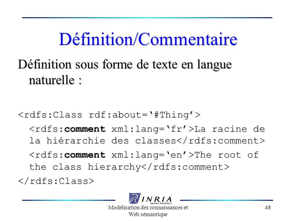 Modélisation des connaissances et Web sémantique 48 Définition/Commentaire Définition sous forme de texte en langue naturelle : La racine de la hiérar