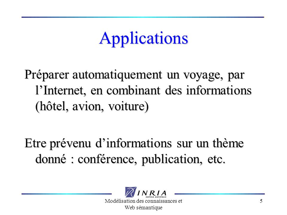 Modélisation des connaissances et Web sémantique 5 Applications Préparer automatiquement un voyage, par lInternet, en combinant des informations (hôte