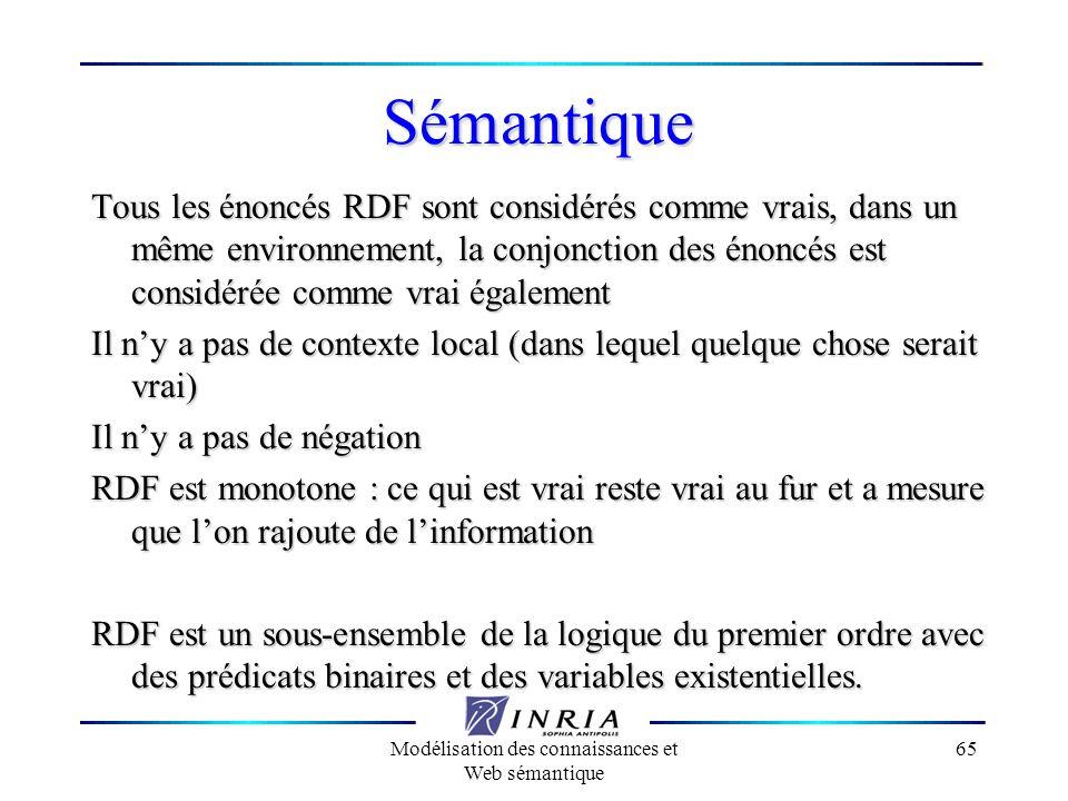 Modélisation des connaissances et Web sémantique 65 Sémantique Tous les énoncés RDF sont considérés comme vrais, dans un même environnement, la conjon