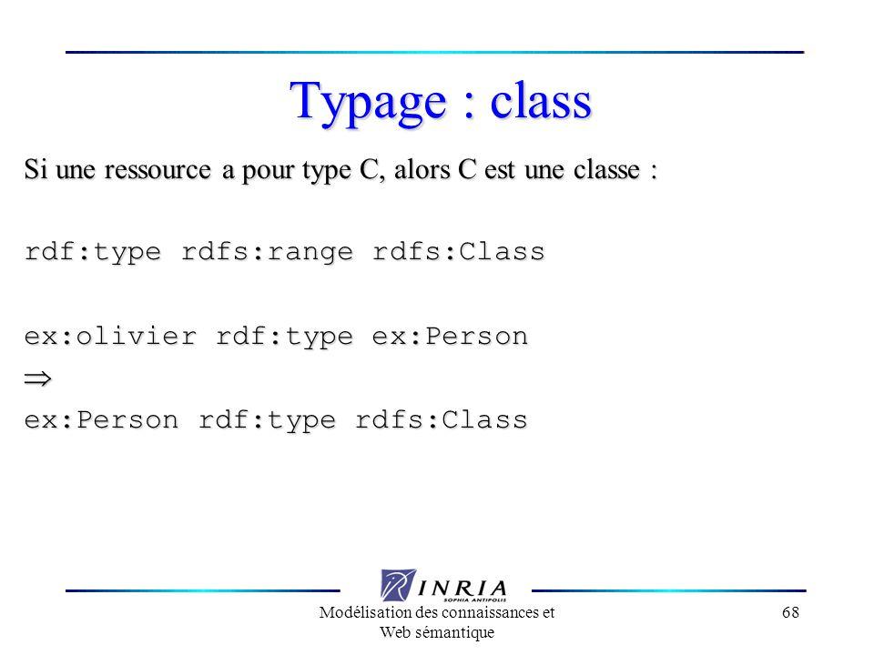Modélisation des connaissances et Web sémantique 68 Typage : class Si une ressource a pour type C, alors C est une classe : rdf:type rdfs:range rdfs:C