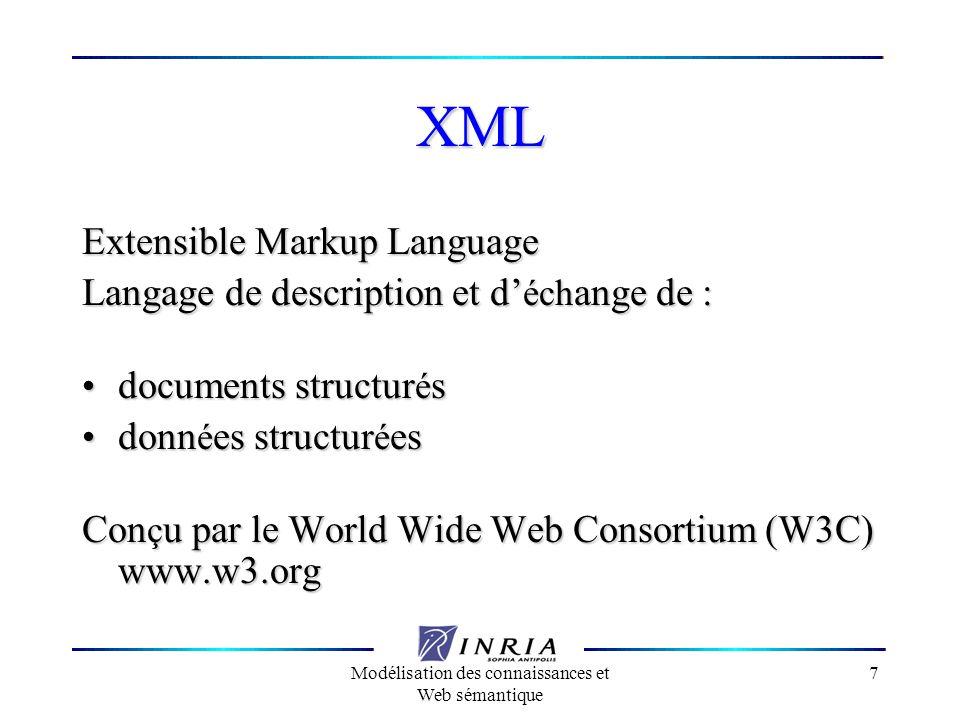 Modélisation des connaissances et Web sémantique 18 RDF Schema Classes de ressource et Propriétés Classes de ressource et Propriétés Spécialisation Spécialisation Syntaxe XML Syntaxe XML Propriétés sont entités à part entière, comme les classes et les instances.