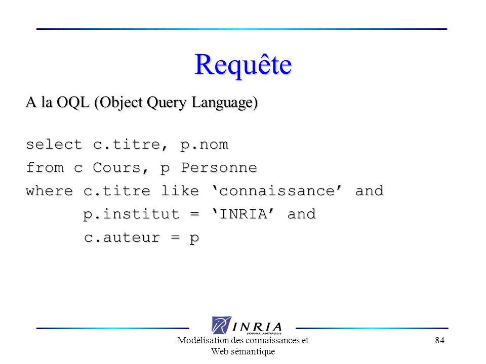 Modélisation des connaissances et Web sémantique 84 Requête A la OQL (Object Query Language) select c.titre, p.nom from c Cours, p Personne where c.ti
