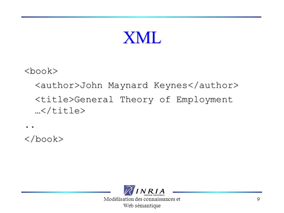 Modélisation des connaissances et Web sémantique 10 XML <aaa> John Maynard Keynes John Maynard Keynes General Theory of Employment … General Theory of Employment …..</aaa> Définit une structure mais pas le sens