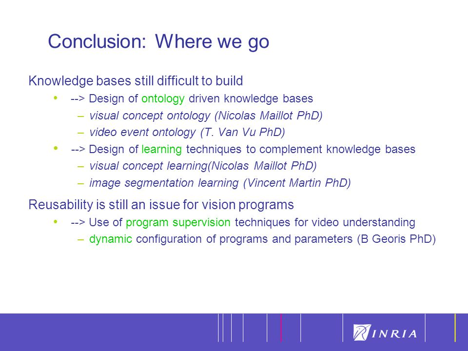 14 Knowledge bases still difficult to build --> Design of ontology driven knowledge bases –visual concept ontology (Nicolas Maillot PhD) –video event ontology (T.