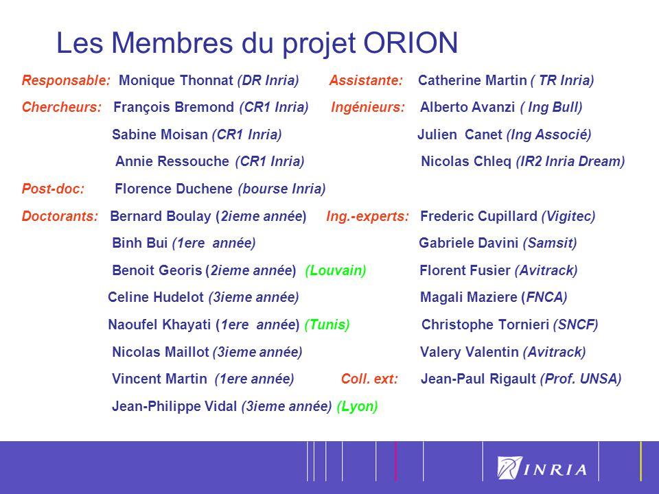 5 Responsable: Monique Thonnat (DR Inria) Assistante: Catherine Martin ( TR Inria) Chercheurs: François Bremond (CR1 Inria) Ingénieurs: Alberto Avanzi