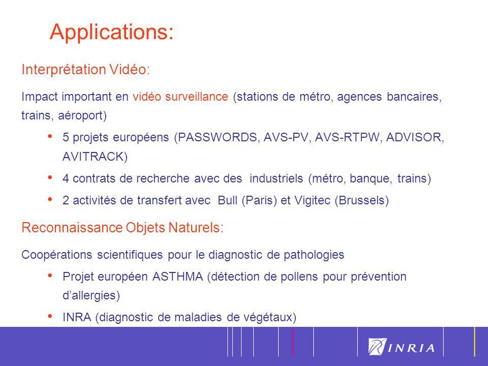7 Interprétation Vidéo : Impact important en vidéo surveillance (stations de métro, agences bancaires, trains, aéroport) 5 projets européens (PASSWORD