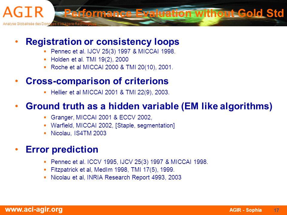Analyse Globalisée des Données dImagerie Radiologique www.aci-agir.org AGIR - Sophia 17 Registration or consistency loops Pennec et al. IJCV 25(3) 199