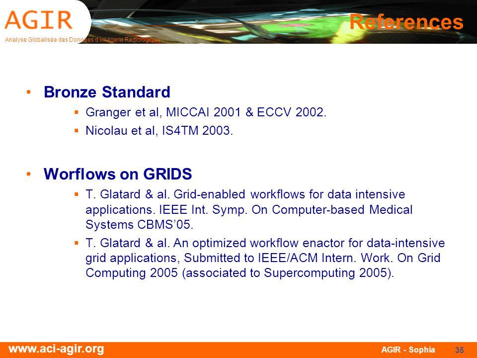 Analyse Globalisée des Données dImagerie Radiologique www.aci-agir.org AGIR - Sophia 35 References Bronze Standard Granger et al, MICCAI 2001 & ECCV 2