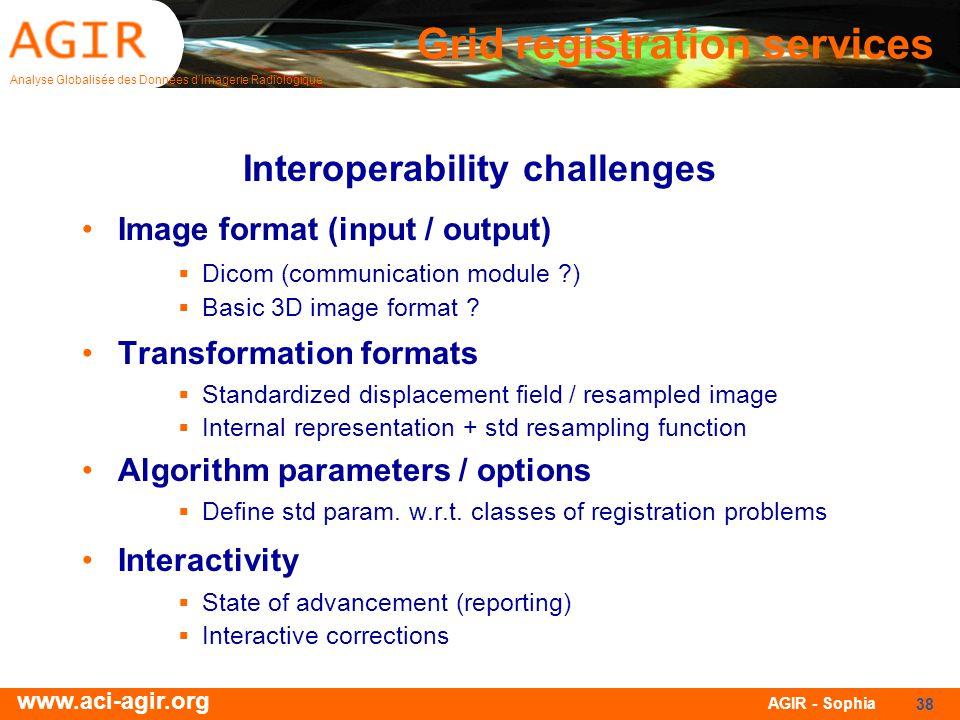 Analyse Globalisée des Données dImagerie Radiologique www.aci-agir.org AGIR - Sophia 38 Interoperability challenges Image format (input / output) Dico