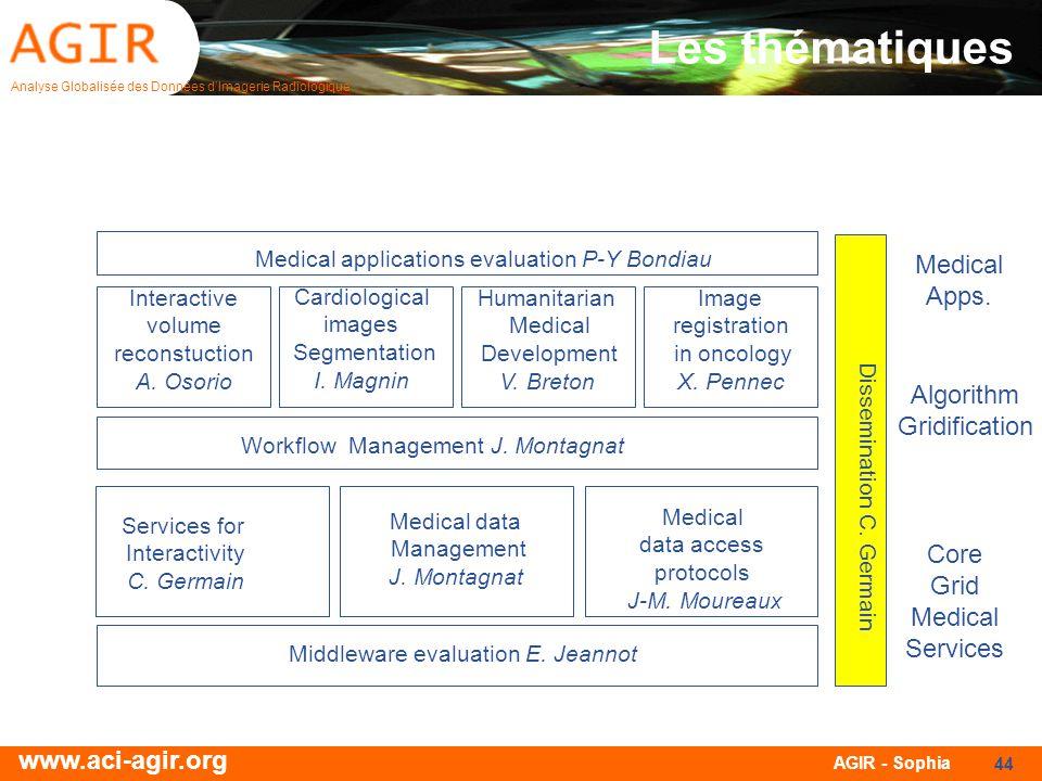 Analyse Globalisée des Données dImagerie Radiologique www.aci-agir.org AGIR - Sophia 44 Les thématiques Cardiological images Segmentation I. Magnin Hu