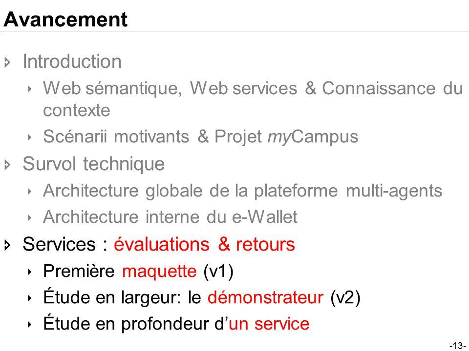 -13- Avancement Introduction Web sémantique, Web services & Connaissance du contexte Scénarii motivants & Projet myCampus Survol technique Architectur