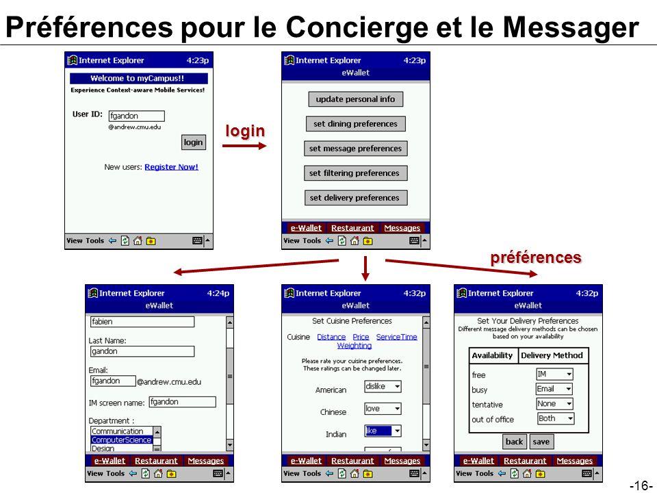 -16- loginpréférences Préférences pour le Concierge et le Messager