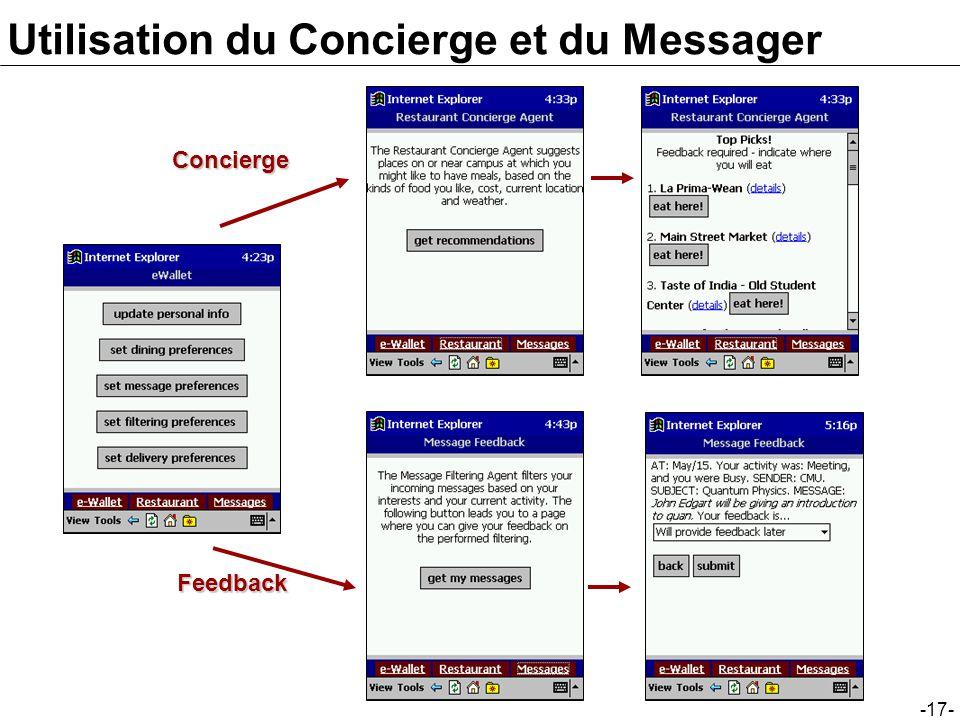 -17- Utilisation du Concierge et du Messager Concierge Feedback