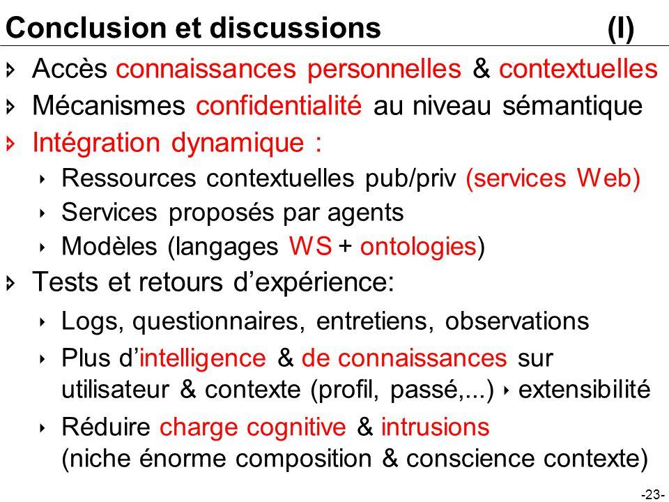 -23- Conclusion et discussions(I) Accès connaissances personnelles & contextuelles Mécanismes confidentialité au niveau sémantique Intégration dynamiq