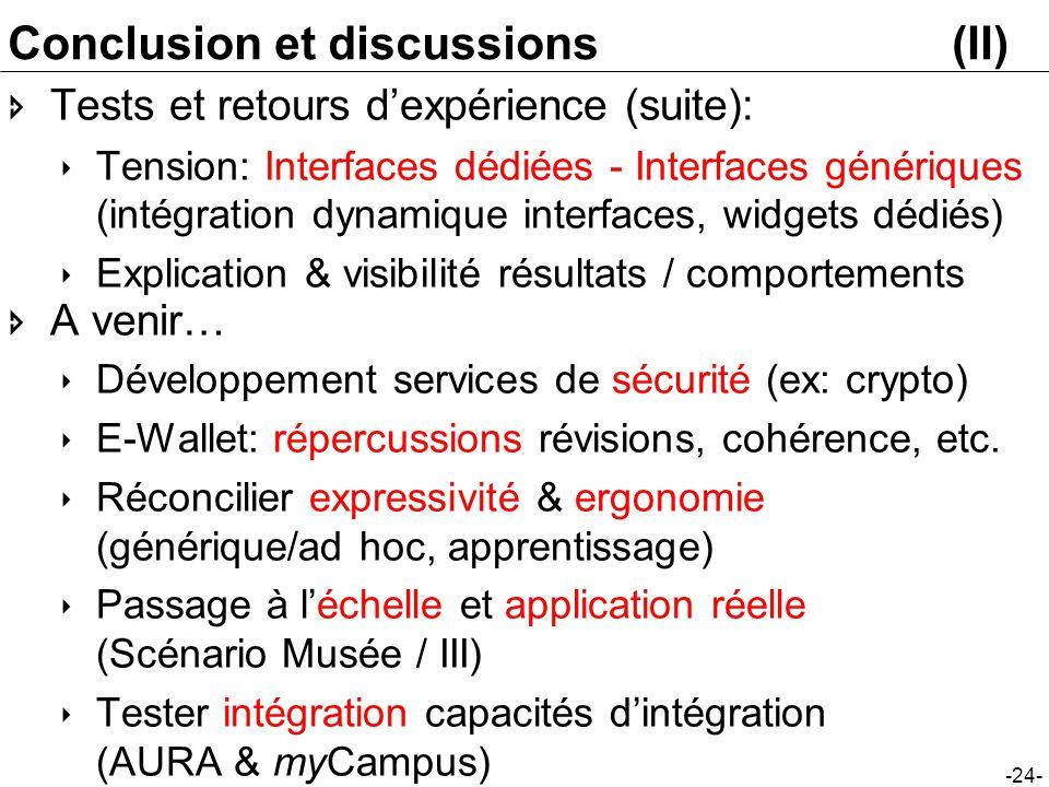 -24- Conclusion et discussions(II) Tests et retours dexpérience (suite): Tension: Interfaces dédiées - Interfaces génériques (intégration dynamique in