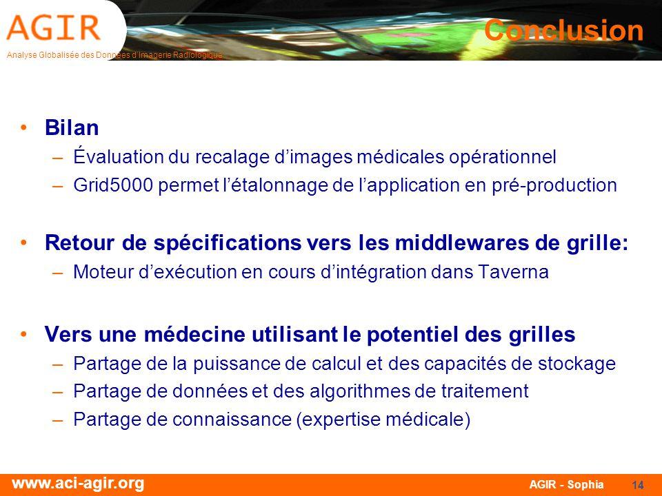 Analyse Globalisée des Données dImagerie Radiologique www.aci-agir.org AGIR - Sophia 14 Conclusion Bilan –Évaluation du recalage dimages médicales opé