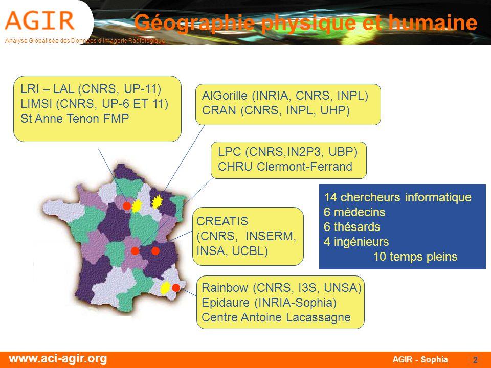 Analyse Globalisée des Données dImagerie Radiologique www.aci-agir.org AGIR - Sophia 2 Géographie physique et humaine AlGorille (INRIA, CNRS, INPL) CRAN (CNRS, INPL, UHP) LPC (CNRS,IN2P3, UBP) CHRU Clermont-Ferrand CREATIS (CNRS, INSERM, INSA, UCBL) Rainbow (CNRS, I3S, UNSA) Epidaure (INRIA-Sophia) Centre Antoine Lacassagne LRI – LAL (CNRS, UP-11) LIMSI (CNRS, UP-6 ET 11) St Anne Tenon FMP 14 chercheurs informatique 6 médecins 6 thésards 4 ingénieurs 10 temps pleins