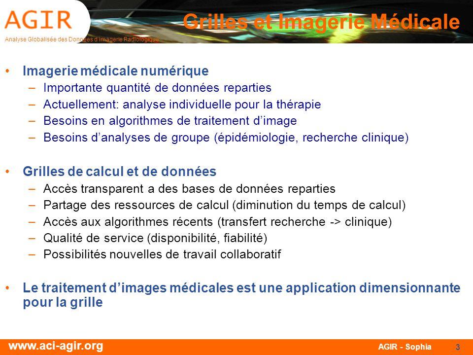 Analyse Globalisée des Données dImagerie Radiologique www.aci-agir.org AGIR - Sophia 3 Grilles et Imagerie Médicale Imagerie médicale numérique –Impor
