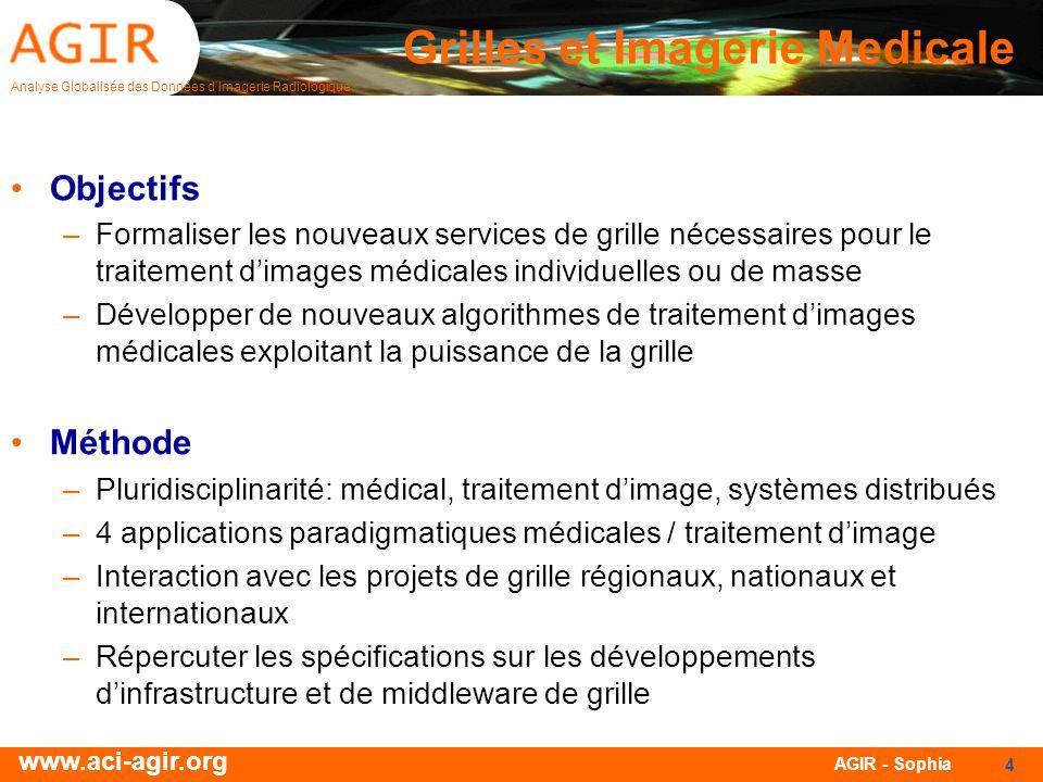 Analyse Globalisée des Données dImagerie Radiologique www.aci-agir.org AGIR - Sophia 4 Grilles et Imagerie Medicale Objectifs –Formaliser les nouveaux