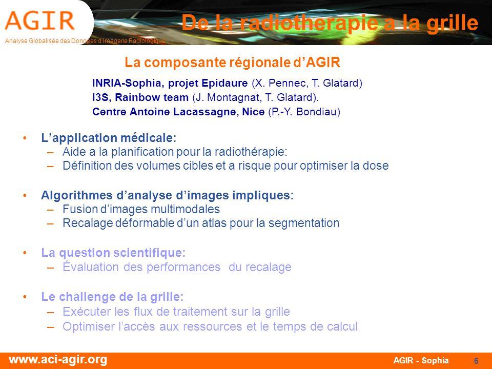 Analyse Globalisée des Données dImagerie Radiologique www.aci-agir.org AGIR - Sophia 6 De la radiotherapie a la grille Lapplication médicale: –Aide a