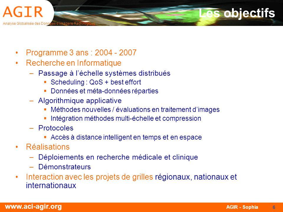 Analyse Globalisée des Données dImagerie Radiologique www.aci-agir.org AGIR - Sophia 17 Les thématiques Cardiological images Segmentation I.