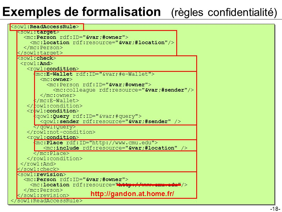-18- Exemples de formalisation (règles confidentialité) http://gandon.at.home.fr/