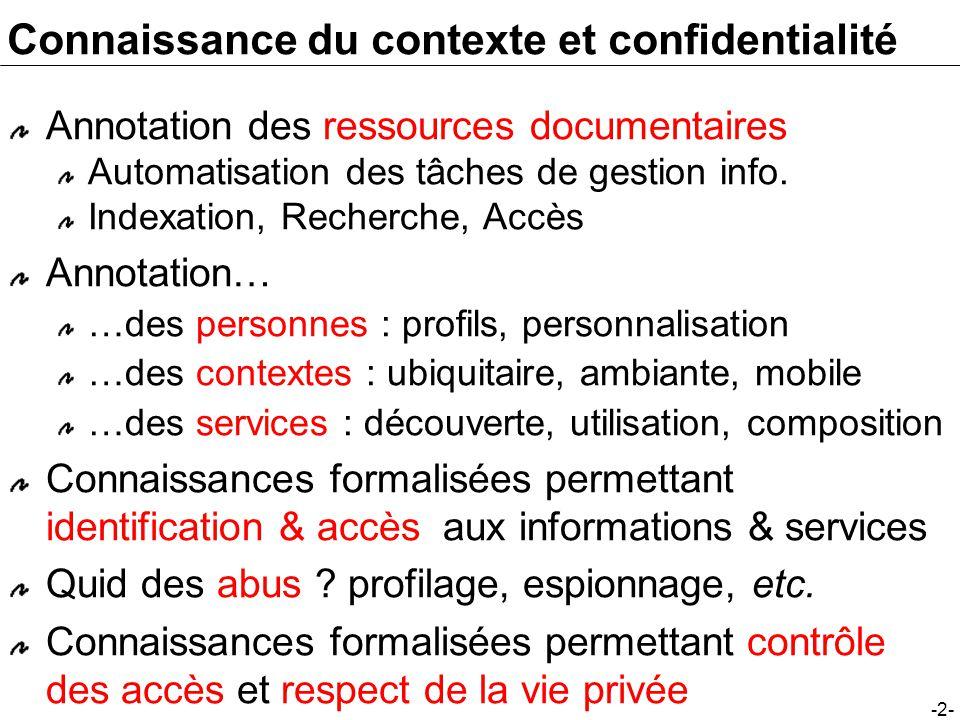 -2- Connaissance du contexte et confidentialité Annotation des ressources documentaires Automatisation des tâches de gestion info.