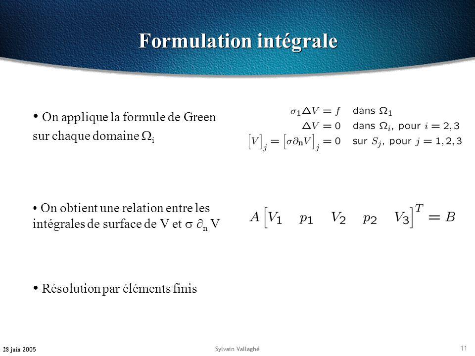 11 28 juin 2005 Sylvain Vallaghé Formulation intégrale On applique la formule de Green sur chaque domaine i On obtient une relation entre les intégral