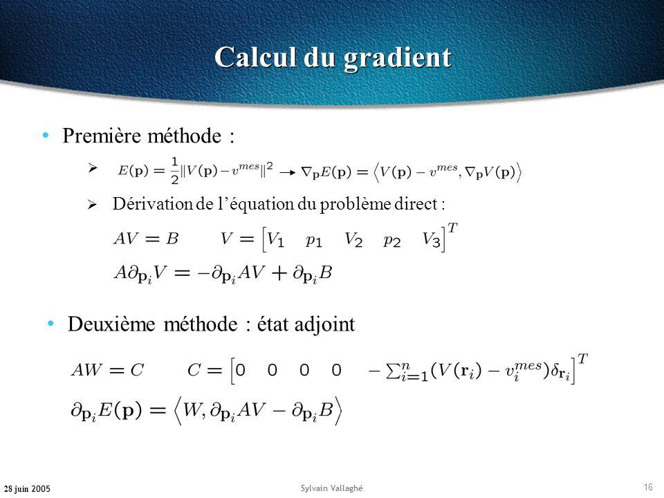 16 28 juin 2005 Sylvain Vallaghé Calcul du gradient Première méthode : Dérivation de léquation du problème direct : Deuxième méthode : état adjoint