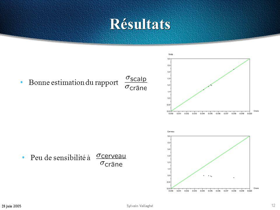 12 28 juin 2005 Sylvain Vallaghé Résultats Bonne estimation du rapport Peu de sensibilité à