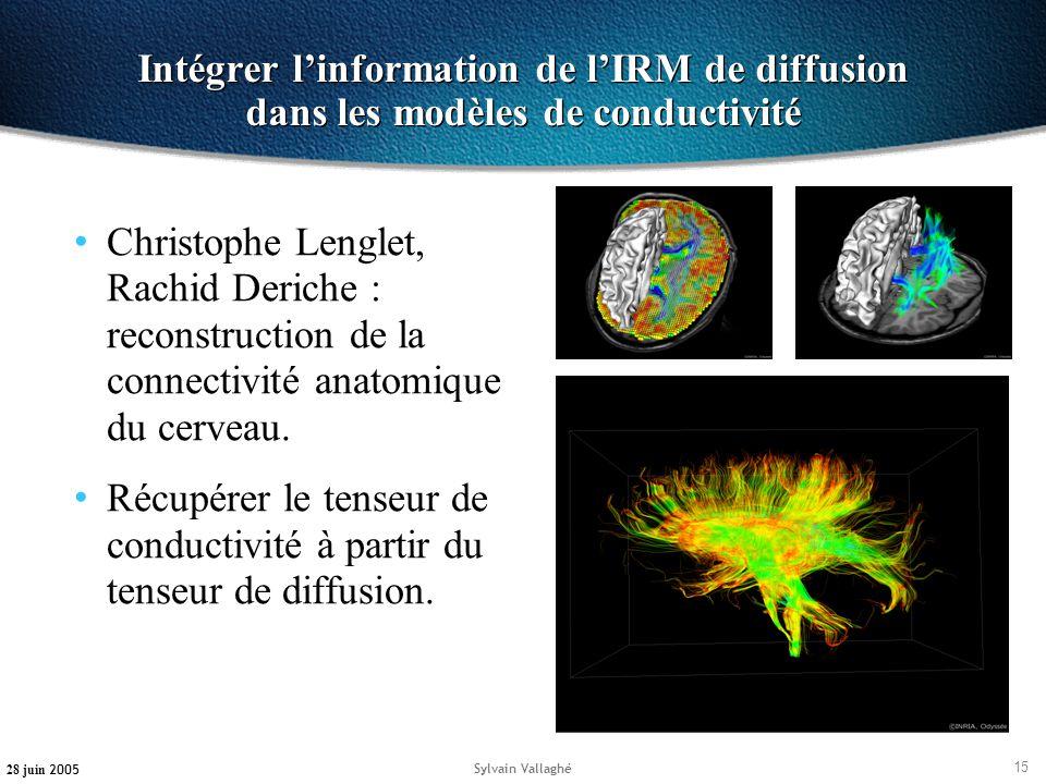 15 28 juin 2005 Sylvain Vallaghé Intégrer linformation de lIRM de diffusion dans les modèles de conductivité Christophe Lenglet, Rachid Deriche : reco