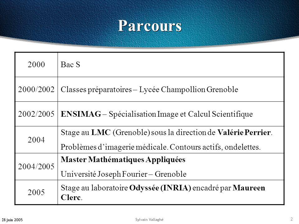 2 28 juin 2005 Sylvain Vallaghé Parcours 2000Bac S 2000/2002Classes préparatoires – Lycée Champollion Grenoble 2002/2005ENSIMAG – Spécialisation Image