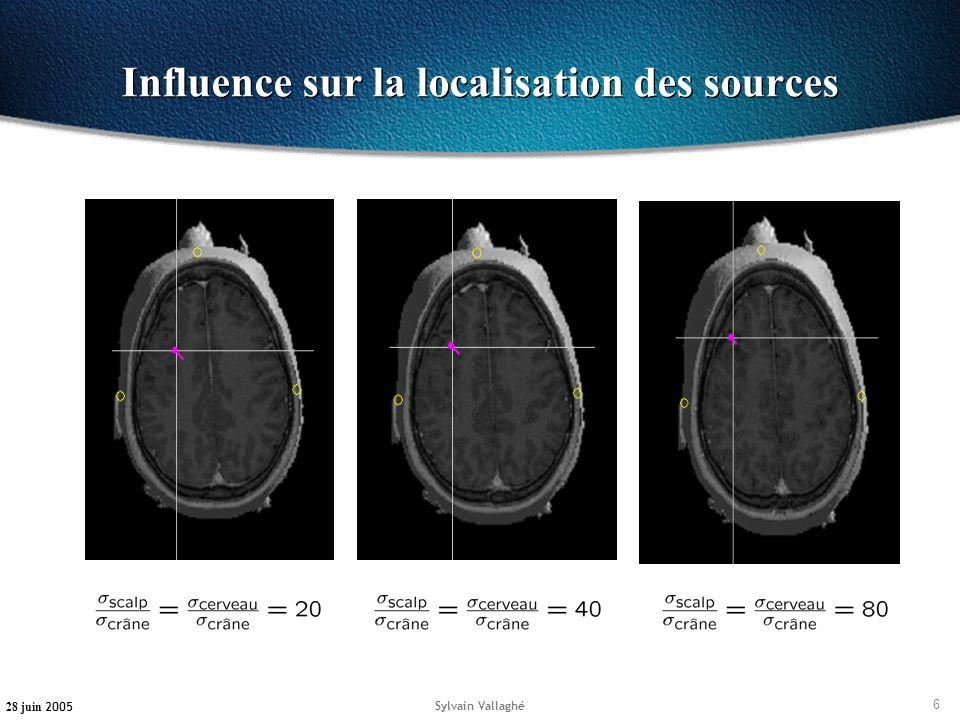 6 28 juin 2005 Sylvain Vallaghé Influence sur la localisation des sources