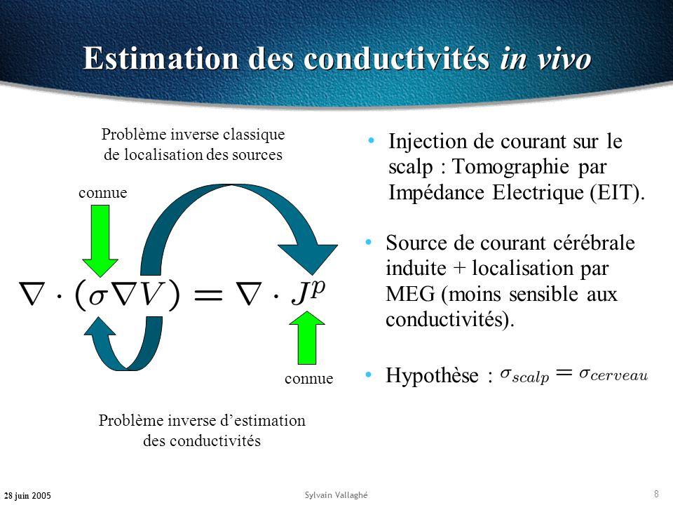 8 28 juin 2005 Sylvain Vallaghé Estimation des conductivités in vivo Injection de courant sur le scalp : Tomographie par Impédance Electrique (EIT). c