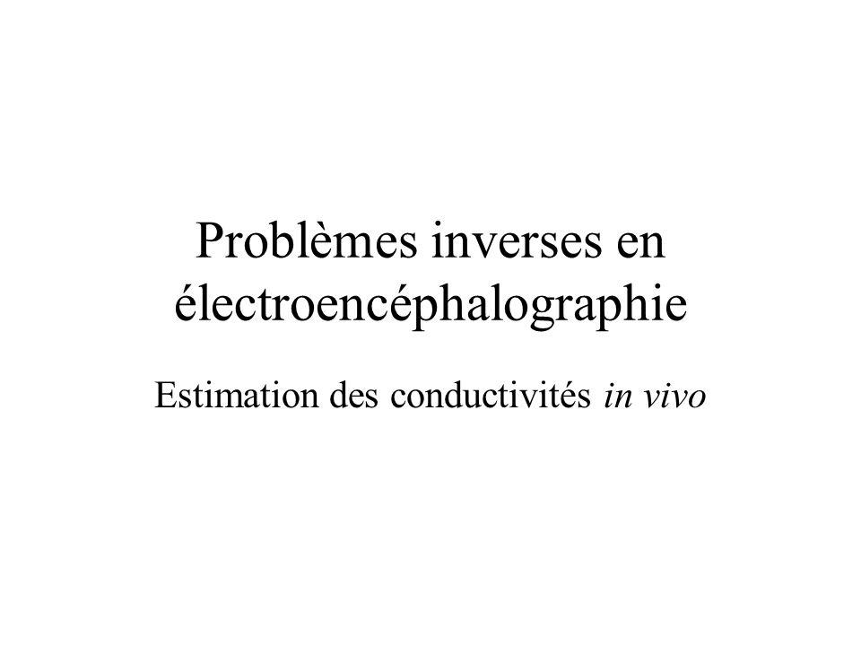Problèmes inverses en électroencéphalographie Estimation des conductivités in vivo
