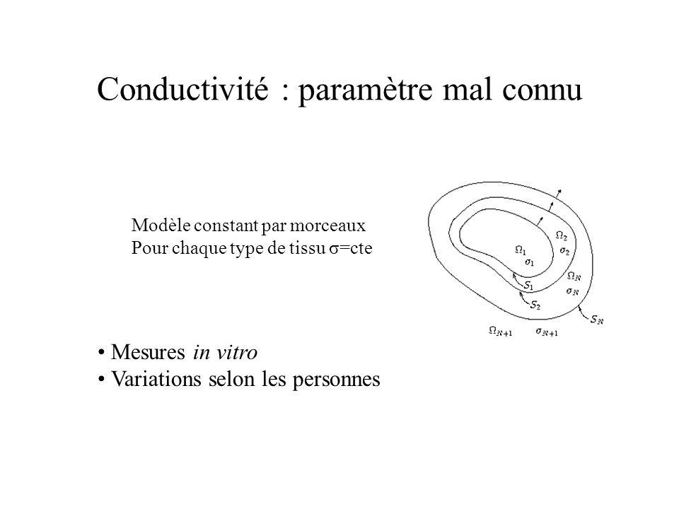 Conductivité : paramètre mal connu Modèle constant par morceaux Pour chaque type de tissu σ=cte Mesures in vitro Variations selon les personnes