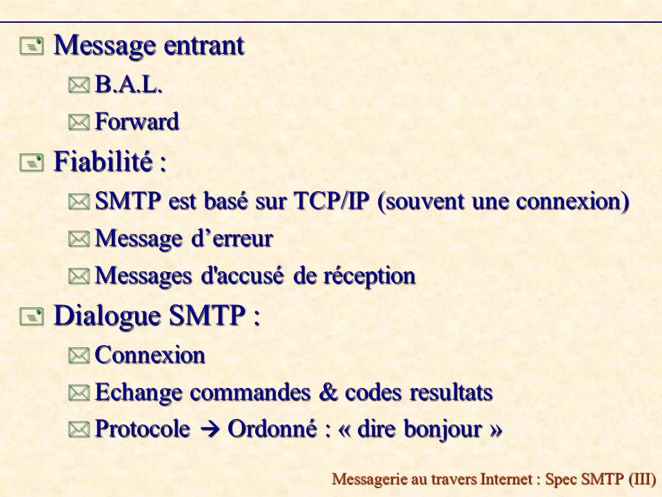Messagerie au travers Internet : Spec SMTP (III) Message entrant Message entrant B.A.L.
