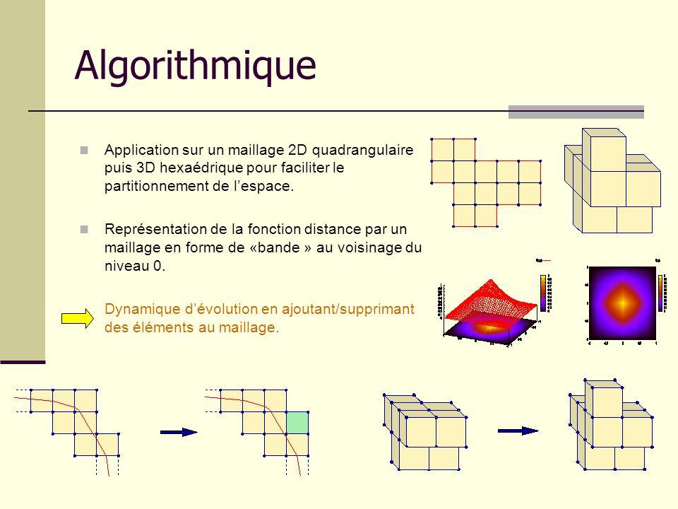 Algorithmique Application sur un maillage 2D quadrangulaire puis 3D hexaédrique pour faciliter le partitionnement de lespace. Représentation de la fon