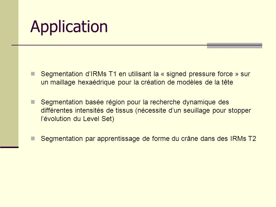 Application Segmentation dIRMs T1 en utilisant la « signed pressure force » sur un maillage hexaédrique pour la création de modèles de la tête Segment