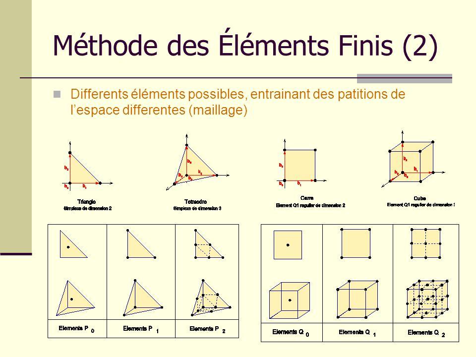 Méthode des Éléments Finis (2) Differents éléments possibles, entrainant des patitions de lespace differentes (maillage)