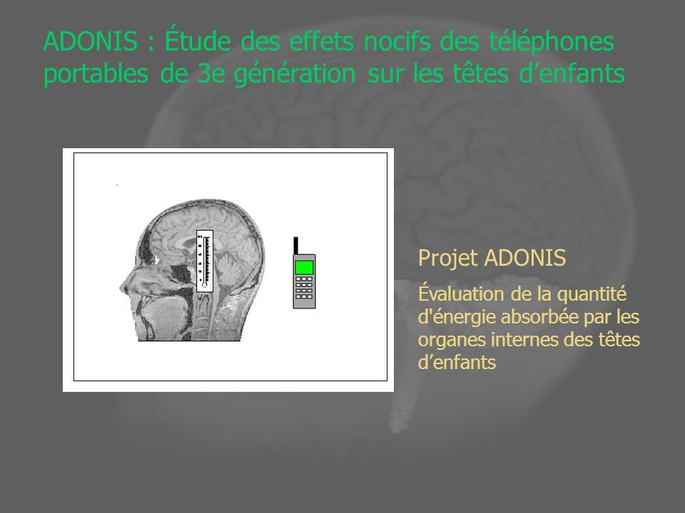 ADONIS : Étude des effets nocifs des téléphones portables de 3e génération sur les têtes denfants Projet ADONIS Évaluation de la quantité d énergie absorbée par les organes internes des têtes denfants