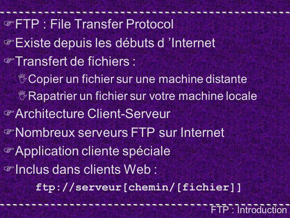 FTP : Introduction FTP : File Transfer Protocol Existe depuis les débuts d Internet Transfert de fichiers : Copier un fichier sur une machine distante Rapatrier un fichier sur votre machine locale Architecture Client-Serveur Nombreux serveurs FTP sur Internet Application cliente spéciale Inclus dans clients Web : ftp://serveur[chemin/[fichier]]