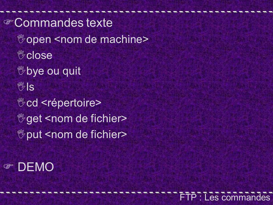 FTP : Les commandes Commandes texte open close bye ou quit ls cd get put DEMO