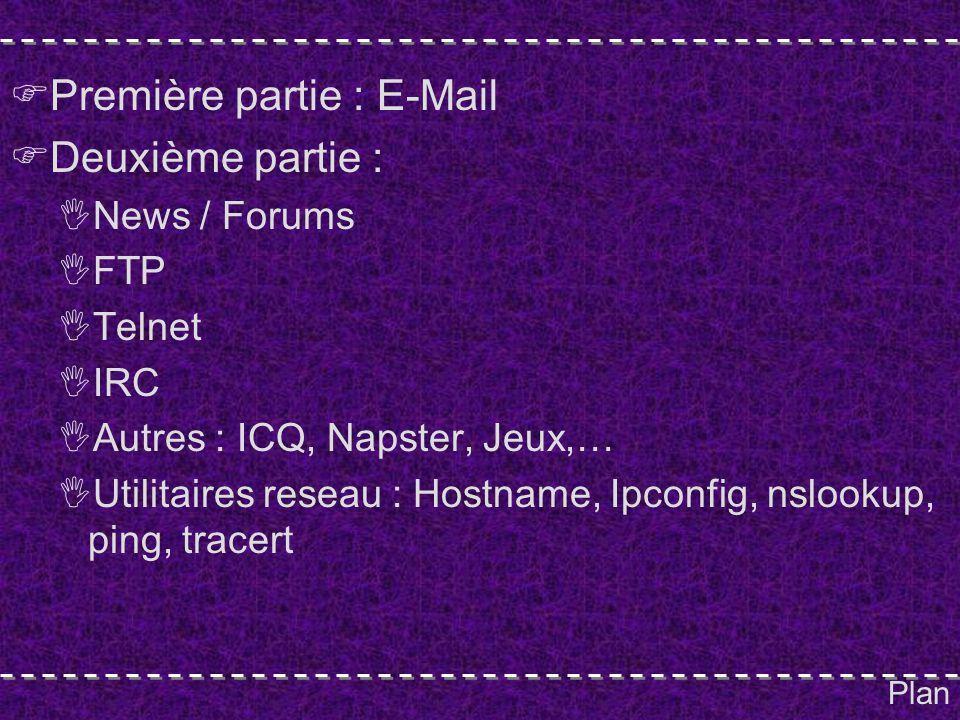 Plan Première partie : E-Mail Deuxième partie : News / Forums FTP Telnet IRC Autres : ICQ, Napster, Jeux,… Utilitaires reseau : Hostname, Ipconfig, nslookup, ping, tracert